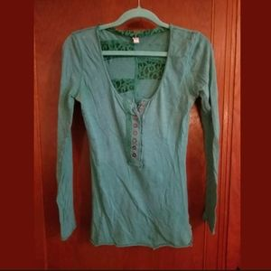 Free People Green Long Sleeve Top Small